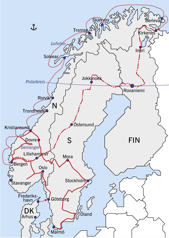 Karte Norwegen Hurtigruten.Tourbeschreibung